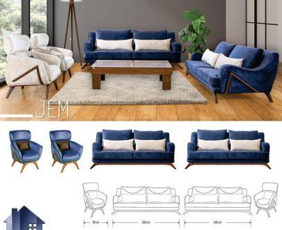 مبل 8نفره جم CFRA209 که به عنوان مبلمان راحتی در دکور تی وی روم و پذیرایی منازل و ویلا استفاده میشود و ساخت شرکت رویال خواب آسایش میباشد.