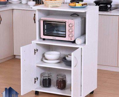 کابینت CSJ103 به صورت درب دار و دارای جای ماکروفر میباشد. و به عنوان میز کمد قفسه و ویترین در آشپزخانه و کافی شاپ و رستوران استفاده میشود.