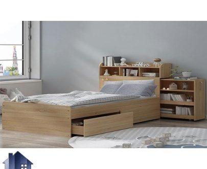 تخت خواب دو نفره DBJ149 کشو دار و قفسه دار با سایز های کینگ و کوئین که به عنوان تختخواب و سرویس خواب دونفره در اتاق خواب استفاده میشود