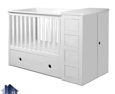 تخت خواب کودک CHJ118 دارای دراور و به صورت کشو دار که به عنوان تختخواب نوزاد و سیسمونی و سرویس خواب در داخل اتاق خواب استفاده میشود
