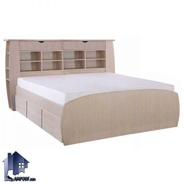 تخت خواب دو نفره DBJ152 که به عنوان تختخواب و تخت باکس کشو دار و تاج دار کینگ و کوئین که در کنار سرویس خواب در اتاق استقاده میشود