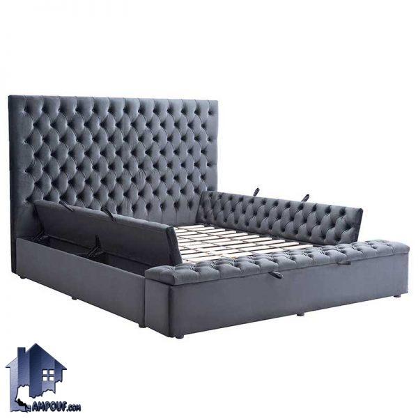 تخت خواب دو نفره چستر DBRo409 با د سایز کینگ و کوئین که به عنوان سرویس خواب و ست تاج باکس دونفره صندوق دار در اتاق خواب استفاده میشود