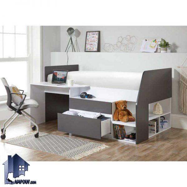 تخت خواب یک نفره SBJ154 که به عنوان تختخواب یکنفره کمجا و دارای میز تحریر و لپ تاپ و دراور و کتابخانه که در اتاق خواب قرار میگیرد