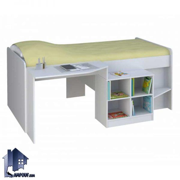 تخت خواب یک نفره SBJ155 به صورت تختخواب و سرویس خواب یکنفره کمجا دارای میز تحریر و لپ تاپ و قفسه و کتابخانه که در اتاق خواب قرار میگیرد
