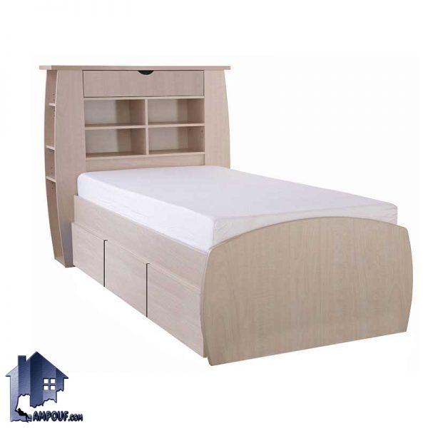 تخت خواب یک نفره SBJ156 کشو دار و دراور دار به همراه تاج با قفسه و ویترین که به عنوان تختخواب یکنفره در کنار سرویس خواب قرار میگیرد.