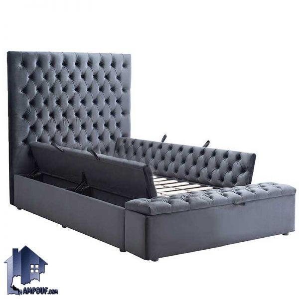 تخت خواب یک نفره چستر SBRo407 به صورت پاف و صندوق دار که به عنوان تختخواب و سرویس خواب و ست تاج و باکس یکنفره مورد استفاده قرار میگیرد