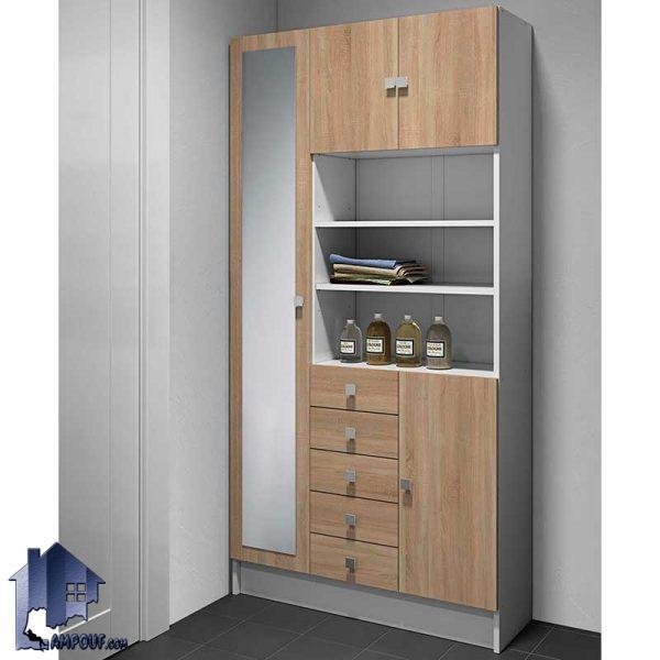 جاکفشی و جالباسی SHJ332 که به صورت کمد قدی آینه دار و کشو دار و قفسه دار در قسمت ورودی منزل و اتاق خواب و رختکن حمام استفاده میشود