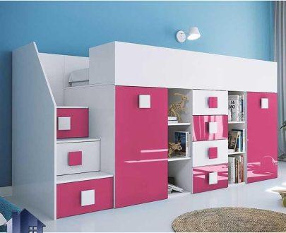 تخت خواب دو طبقه TBJ64 که به عنوان سرویس خواب یک نفره کمجا دارای دراور و کمد جالباسی و جاکفشی و میز تحریر چرخدار و کتابخانه میباشد.