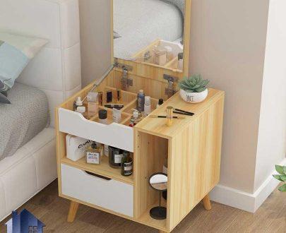 پاتختی BSTJ117 دارای کشو و قفسه و آینه و دارای دیوایدر که به عنوان میز گریم و توالت و میز آرایش کمجا در کنار سرویس خواب استفاده میشود