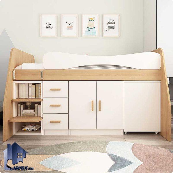 تخت خواب دو طبقه TBJ65 دارای دراور و میز تحریر که به عنوان تختخواب یک نفره و یا سرویس خواب کمجا در اتاق نوجوان و بزرگسال قرار میگیرد