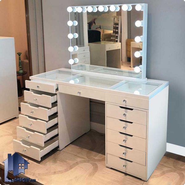 میز آرایش لامپ دار DJ501 دارای کشو و صفحه شیشه ای که به عنوان میز گریم و توالت چراغ دار در کنار سرویس خواب در اتاق استفاده میشود.