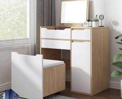 میز آرایش DJ518 با طراحی آینه تاشو جکدار و دارای کشو دیوایدر که به عنوان میز توالت و گریم و دراور و کنسول در کنار سرویس خواب قرار میگیرد