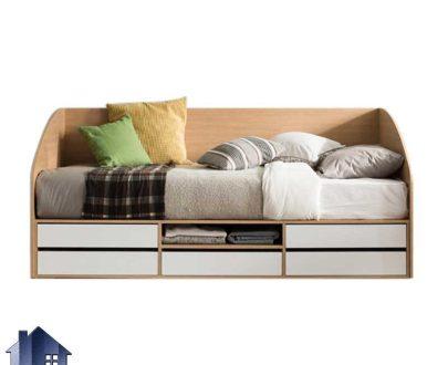 تخت خواب یک نفره SBJ159 دارای کشو و دراور و قفسه که به عنوان تختخواب و سرویس خواب یکنفره کمجا در اتاق خواب مورد استفاده قرار میگیرد.