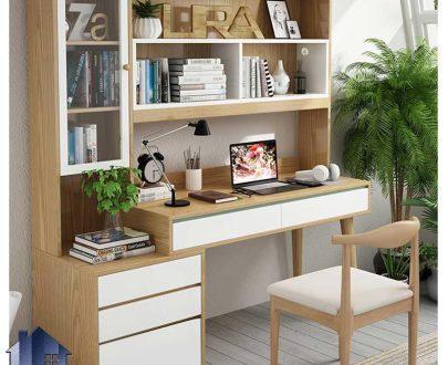 میز تحریر SDJ340 دارای کتابخانه و ویترین و کشو که به عنوان میز کامپیوتر و لپ تاپ و میز کار و مطالعه در کنار شسرویس خواب استفاده میشود