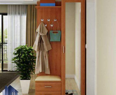 جاکفشی و جالباسی SHJ334 به صورت نیمکت دار و دارای آینه قدی و قفسه به همراه رگال آویز لباس که در ورودی منزل استفاده میشود