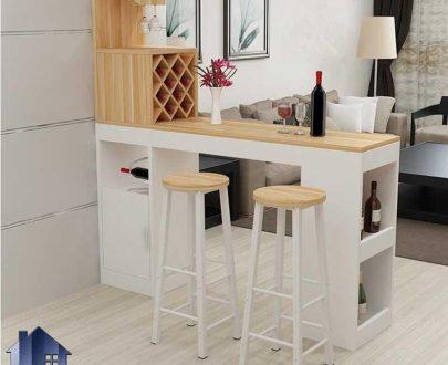 میز بار BTJ132 دارای قفسه و جای بطری که به عنوان پارتیشن و جداکننده و ویترین اپن و بار در پذیرایی و آشپزخانه و یا کافی شاپ استفاده میشود.