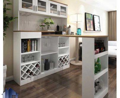 میز بار BTJ133 که دارای ویترین و قفسه و کابینت میباشد که در قسمت آشپزخانه و پذیرایی منزل و همچنین کافی شاپ و رستوران استفاده میشود.