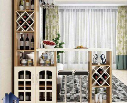 میز بار BTJ134 دارای قفسه و ویترین و میز اپن که به عنوان پارتیشن و جداکننده نیز در آشپزخانه و پذیرایی و کافی شاپ و رستوران استفاده میشود