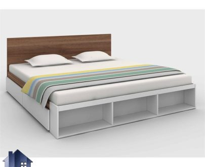 تخت خواب دو نفره DBJ154 با سایز کینگ و کوئین دارای کشو و قفسه کتابخانه که در کنار سرویس خواب به عنوان تختخواب دونفره داخل اتاق قرار میگیرد.