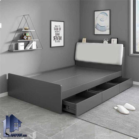 تخت خواب دو نفره DBJ158 دارای کشو و تاج لمسه که به عنوان تختخواب و سرویس خواب دونفره کینگ و کوئین در اتاق خواب مورد استفاده قرار میگیرد