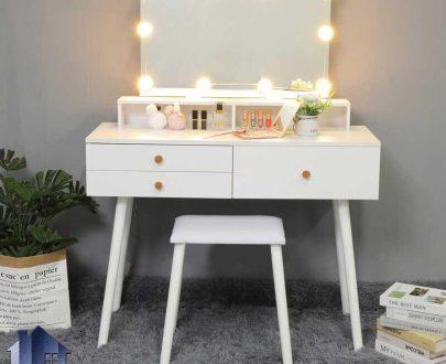 میز آرایش لامپ دار DJ526 به صورت چراغ دار و دارای کشو که به عنوان میز گریم و توالت و کنسول، دراور آینه دار در کنار سرویس خواب قرار میگیرد