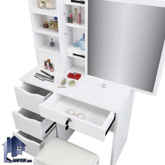 میز آرایش DJ535 دارای کشو و قفسه و آینه ریلی که به عنوان میز توالت و گریم و دراور و کنسول آینه دار در کنار سرویس خواب در اتاق قرار میگیرد