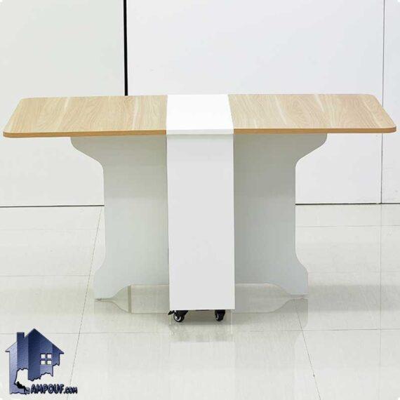 میز نهارخوری تبدیلی DTJ73 به صورت تاشو و کمجا که در آشپزخانه و پذیرایی و کافی شاپ و رستوران و دگر محیط های مشابه مورد استفاده قرار میگیرد
