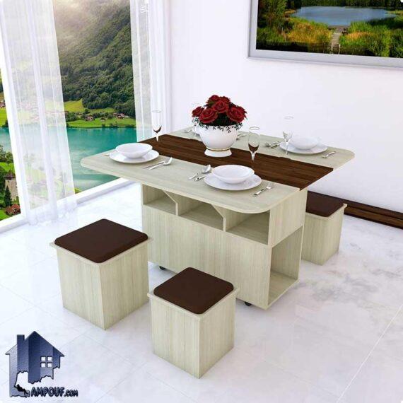 میز نهارخوری تبدیلی DTJ74 به صورت تاشو و کمجا که به عنوان میز ناهارخوری و غذا خوری در آشپزخانه و پذیرایی و کافی شاپ و رستوران قرار میگیرد.