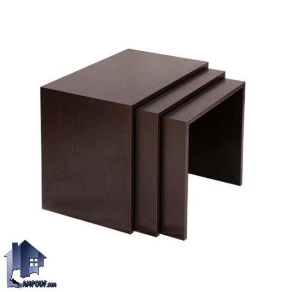 میز عسلی HOJ151 به صورت سه تکه کمجا که به عنوان میز جلومبلی اداری و خانگی در کنار مبلمان پذیرایی و تی وی روم و سالن انتظار استفاده میشود