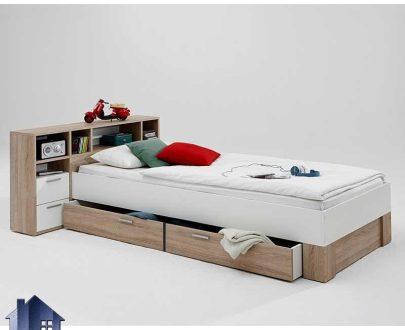 تخت خواب یک نفره SBJ162 دارای پاتختی متصل و تاج قفسه دار و کشو دار که به عنوان سرویس خواب و تختخواب یکنفره در اتاق خواب قرار میگیرد