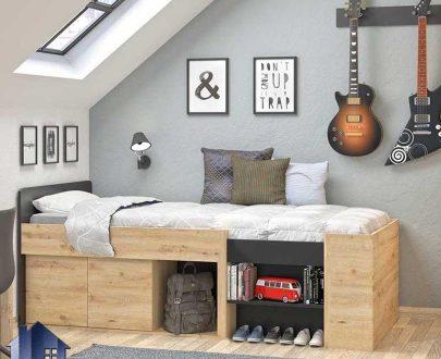تخت خواب یک نفره SBJ163 دارای قفسه و کمد درب دار که به عنوان سرویس خواب، تختخواب یکنفره کمجا در اتاق نوجوان و بزرگسال قابل استفاده میباشد