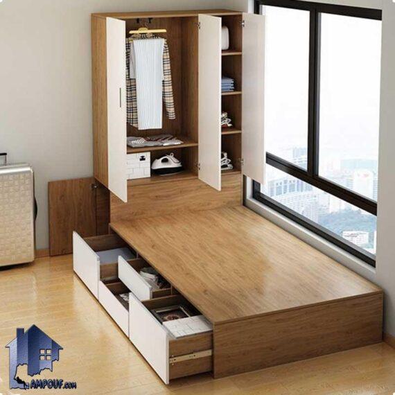 تخت خواب دو نفره DBJ165 دارای کشو زیر تختخواب و کمد جالباسی و جاکفشی در قسمت تاج که به عنوان سرویس خواب دونفره کینگ و کوئین استفاده میشود. تخت خواب یک نفره SBJ164 دارای کشو، کمد جالباسی، جاکفشی و قفسه که به عنوان تختخواب و سرویس خواب یکنفره کمجا در اتاق مورد استفاده قرار میگیرد.