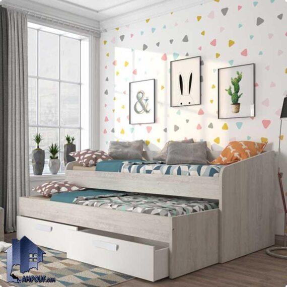تخت خواب یک نفره SBJ167 دارای تختخواب مهمان ، کشو و دراور که به عنوان کاناپه و یا سرویس خواب کمجا و دوطبقه در اتاق مورد استفاده قرار میگیرد.