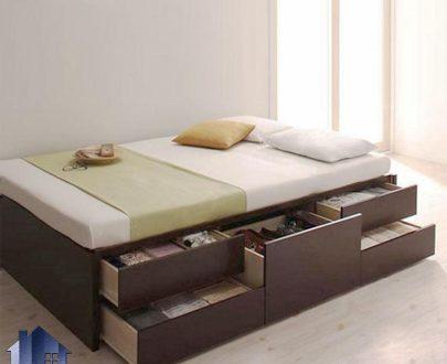 تخت خواب یک نفره SBJ168 دارای کشو در دو ردیف که به عنوان باکس چوبی و تختخواب یکنفره در کنار سرویس خواب در اتاق نوجوان، بزرگسال استفاده میشود.