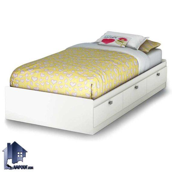 تخت خواب یک نفره SBJ169 دارای کشو و دراور که به صورت باکس و تختخواب یکنفره در کنار سرویس خواب در اتاق بزرگسال و نوجوان استفاده میشود