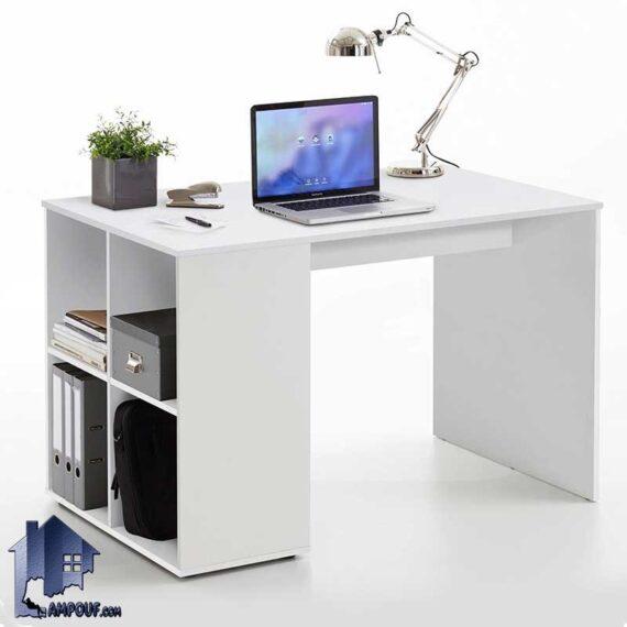 میز تحریر SDJ344 دارای کتابخانه و قفسه که به عنوان میز کار و مطالعه و میز لپ تاپ یا کامپیوتر در کنار سرویس خواب در اتاق خواب استفاده میشود.