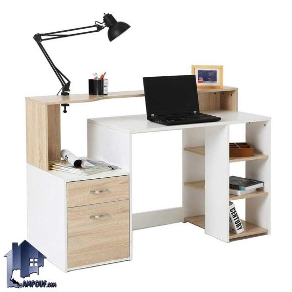 میز تحریر SDJ347 دارای قفسه و کتابخانه و جای کیس که به عنوان میز کار و مطالعه و لپ تاپ و میز کامپیوتر و گیمینگ در اتاق خواب استفاده میشود.