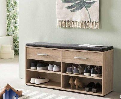 جاکفشی نیمکتدار SHJ336 دارای کشو و قفسه و نیمکت یا صندلی دو نفره که در قسمت ورودی منزل و پذیرایی و در کنار سرویس خواب در اتاق قرار میگیرد