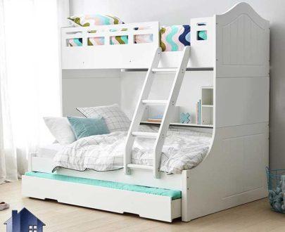 تخت خواب دو طبقه TBJ69 دارای قفسه و کتابخانه که به عنوان تختخواب و سرویس خواب دوطبقه کمجا در اتاق خواب نوجوان و بزرگسال استفاده میشود