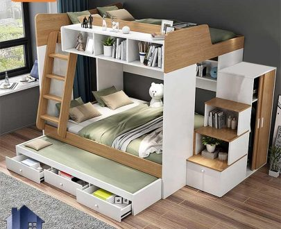 تخت خواب دو طبقه TBJ70 دارای کمد جالباسی و قفسه و کتابخانه و تخت میهمان و کشو که به عنوان سرویس خواب و تختخواب کمجا در اتاق قرار میگیرد.
