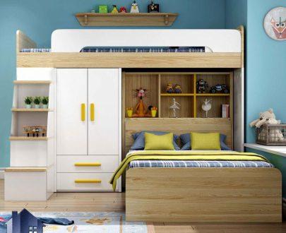 تخت خواب دو طبقه TBJ72 دارای کمد دراور جالباسی کتابخانه که به عنوان سرویس کمجا و تختخواب دوطبقه در اتاق نوجوان و بزرگسال استفاده میشود.