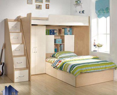 تخت خواب دو طبقه TBJ73 دارای کمد و قفسه و کتابخانه و همچنین پله کشو دار که به عنوان سرویس خواب و تختخواب دوطبقه در اتاق خواب استفاده میشود.