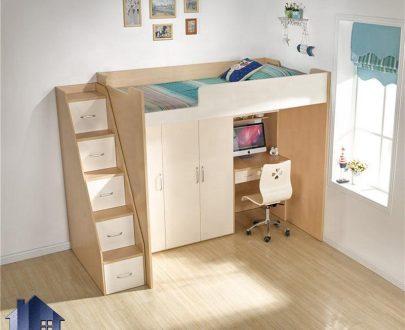 تخت خواب دو طبقه TBJ74 دارای کمد و میز تحریر و پله کشو دار که به عنوان تختخواب دوطبقه در کنار سرویس خواب در اتاق خواب استفاده میشود.