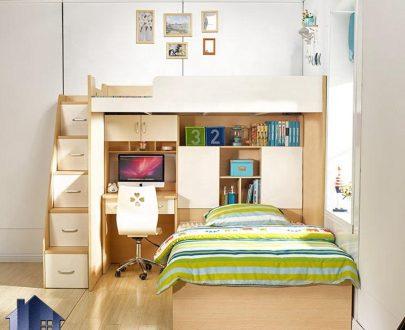 تخت خواب دو طبقه TBJ75 دارای میز تحریر کتابخانه و کشو و دراور که به عنوان تختخواب دوطبقه و سرویس خواب کمجا در اتاق نوجوان استفاده میشود