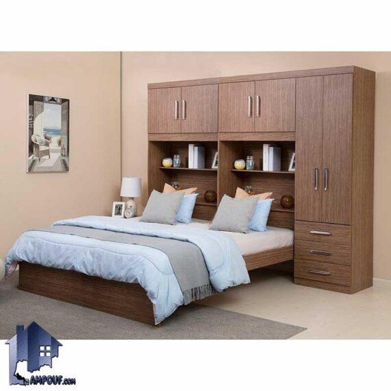تخت خواب دو نفره DBJ161 به صورت کمد دار دارای قفسه و کتابخانه که به عنوان سرویس خواب و تختخواب دونفره کمجا در اتاق خواب استفاده میشود.