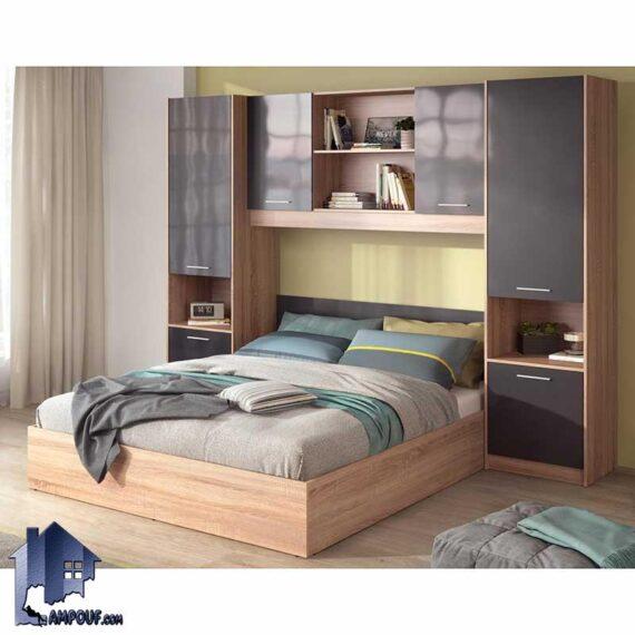 تخت خواب دو نفره DBJ163 دارای دو سایز کینگ و کوئین به صورت کمد دار دارای کتابخانه که به عنوان تختخواب و سرویس خواب دونفره کمجا میباشد