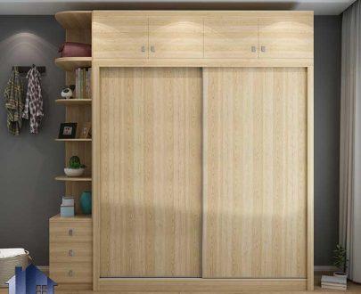 کمد جالباسی LHJ311 دارای درب ریلی کشویی، قفسه، ویترین، کمد لباس و کفش،میله آویز لباس و کشو که به عنوان کمد دیواری اتاق خواب طراحی شده است.