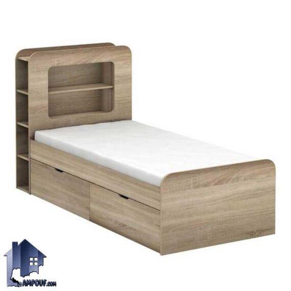 تخت خواب یک نفره SBJ172 دارای قفسه و کشو و دراور که به عنوان تختخواب و سرویس خواب یکنفره کمجا در اتاق نوجوان و بزرگسال استفاده میشود.
