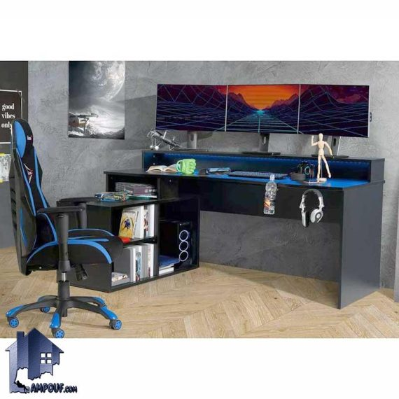 میز گیمینگ SDJ356 دارای کناره قفسه دار و دارای جای کیس که به عنوان میز بازی کامپیوتری، لپ تاپ، میز کار، میز تحریر و مطالعه استفاده میشود.