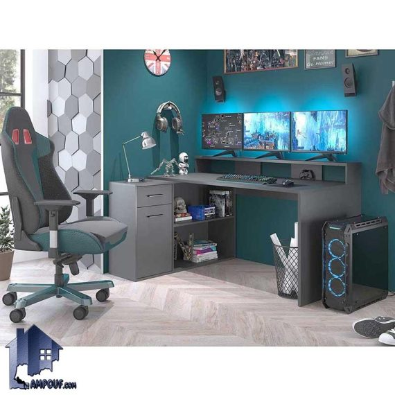 میز گیمینگ SDJ358 یا میز بازی رایانه ای دارای کشو و قفسه که به عنوان میز کامپیوتر، لپ تاپ و میز کار و مطالعه و تحریر استفاده میشود.